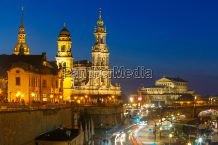 old town at night in dresden