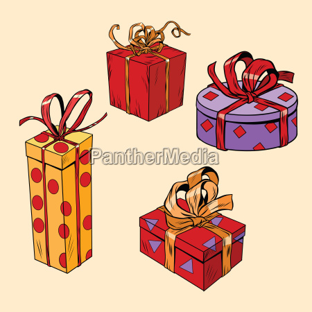 set of holiday christmas boxes with