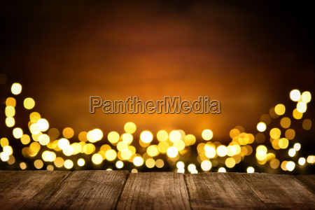 festive background of wood and lights