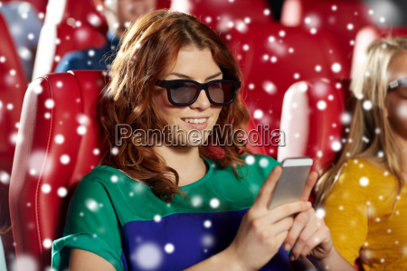 happy woman with smartphone in 3d