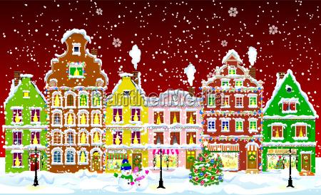 ciudad en la noche de navidad