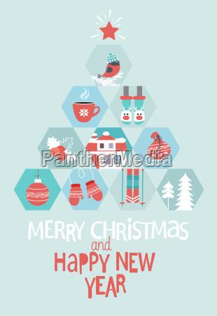 navidad y tarjeta de felicitacion del