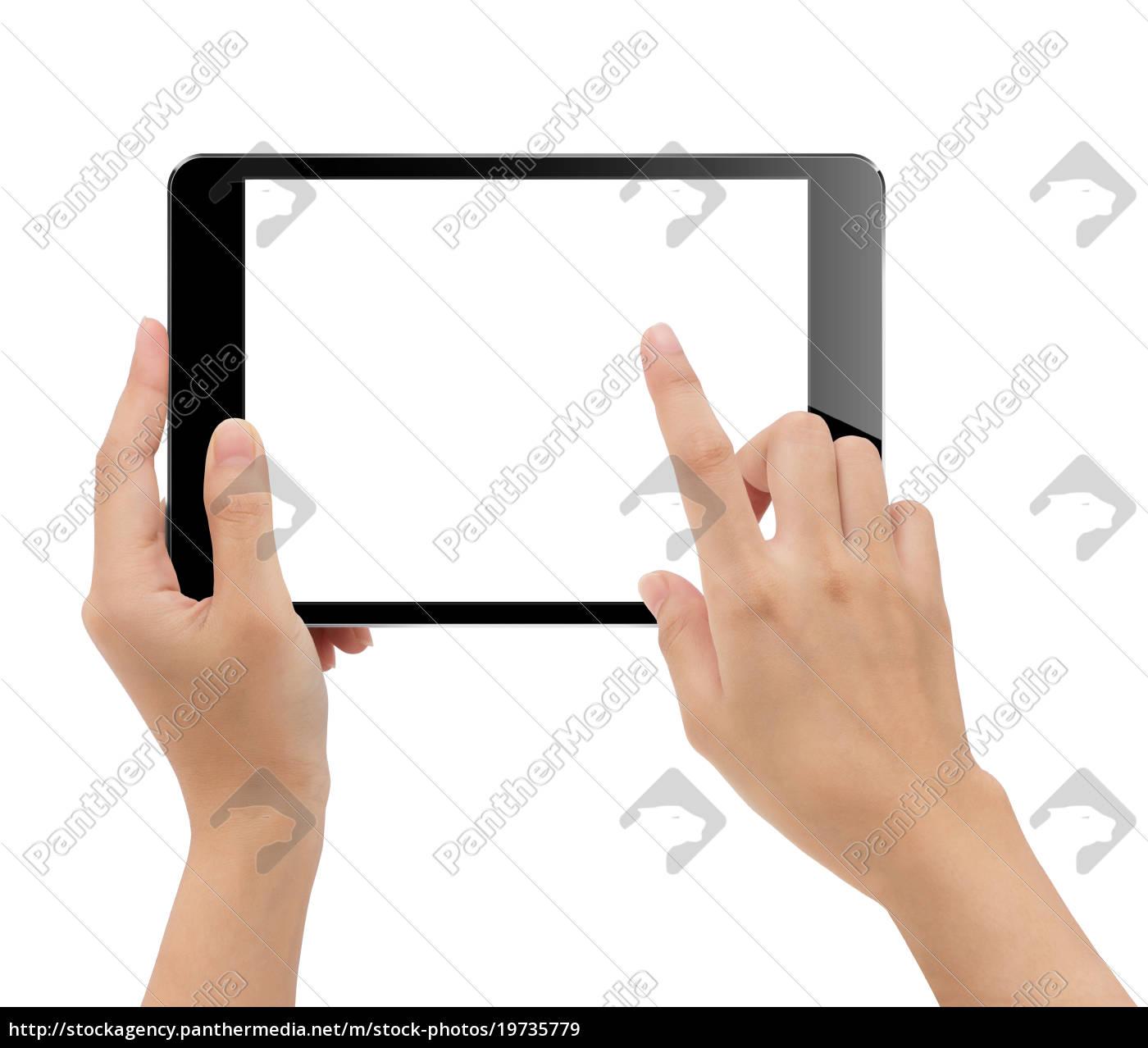 mano, de, cerca, sosteniendo, la, tableta - 19735779