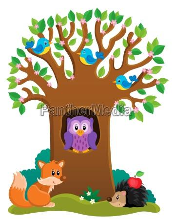 tree with various animals theme 3