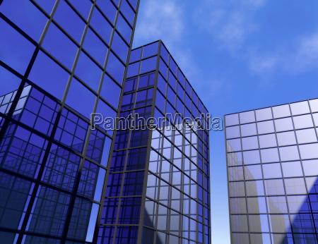 rascacielos oficina azul espejo vidrio ventanas