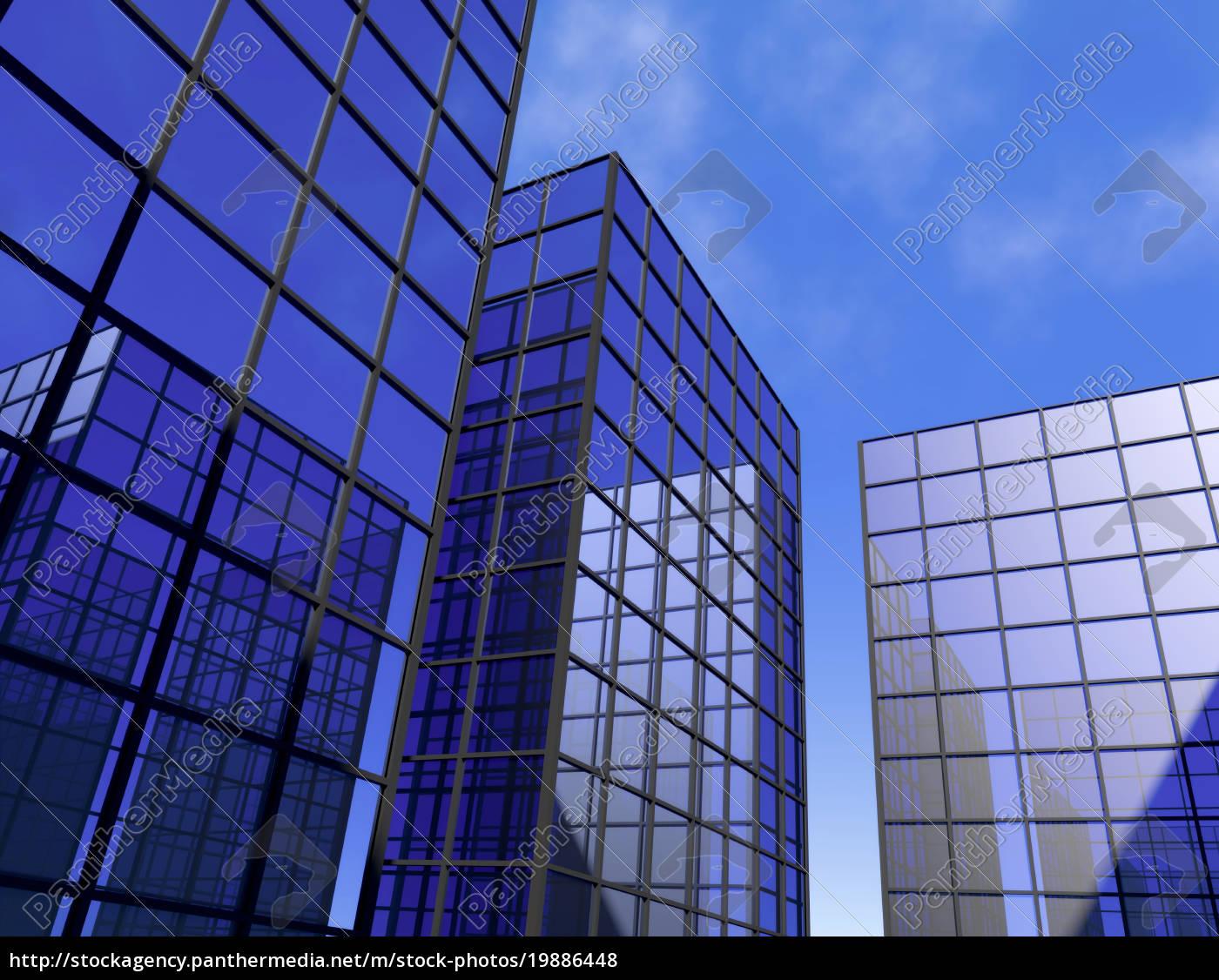 rascacielos, oficina, azul, espejo, vidrio, ventanas - 19886448