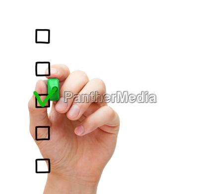 concepto de lista de encuesta en