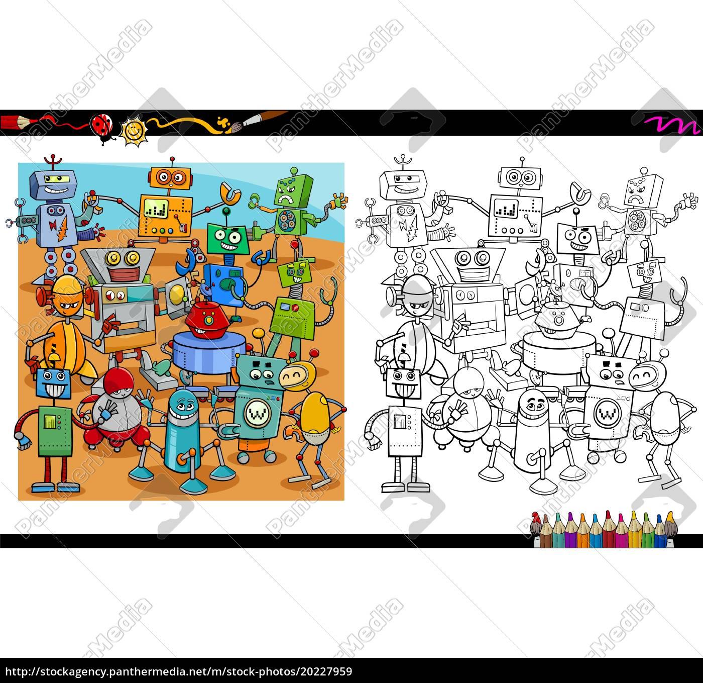 Vector Libre De Derechos 20227959 Dibujos Animados Robots Para Colorear Página