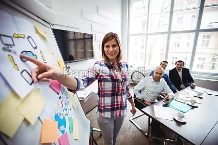 happy empresaria dando presentacion