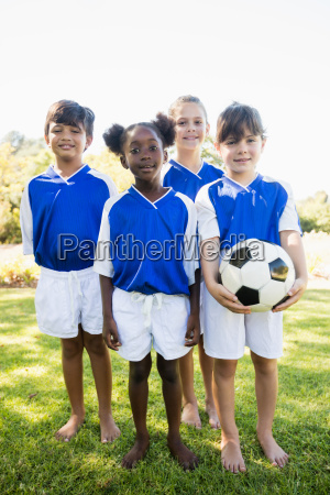 portrait of children soccer team standing