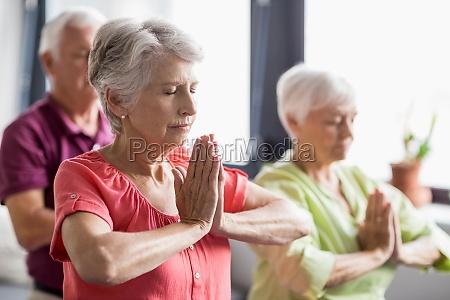 personas mayores haciendo yoga con los