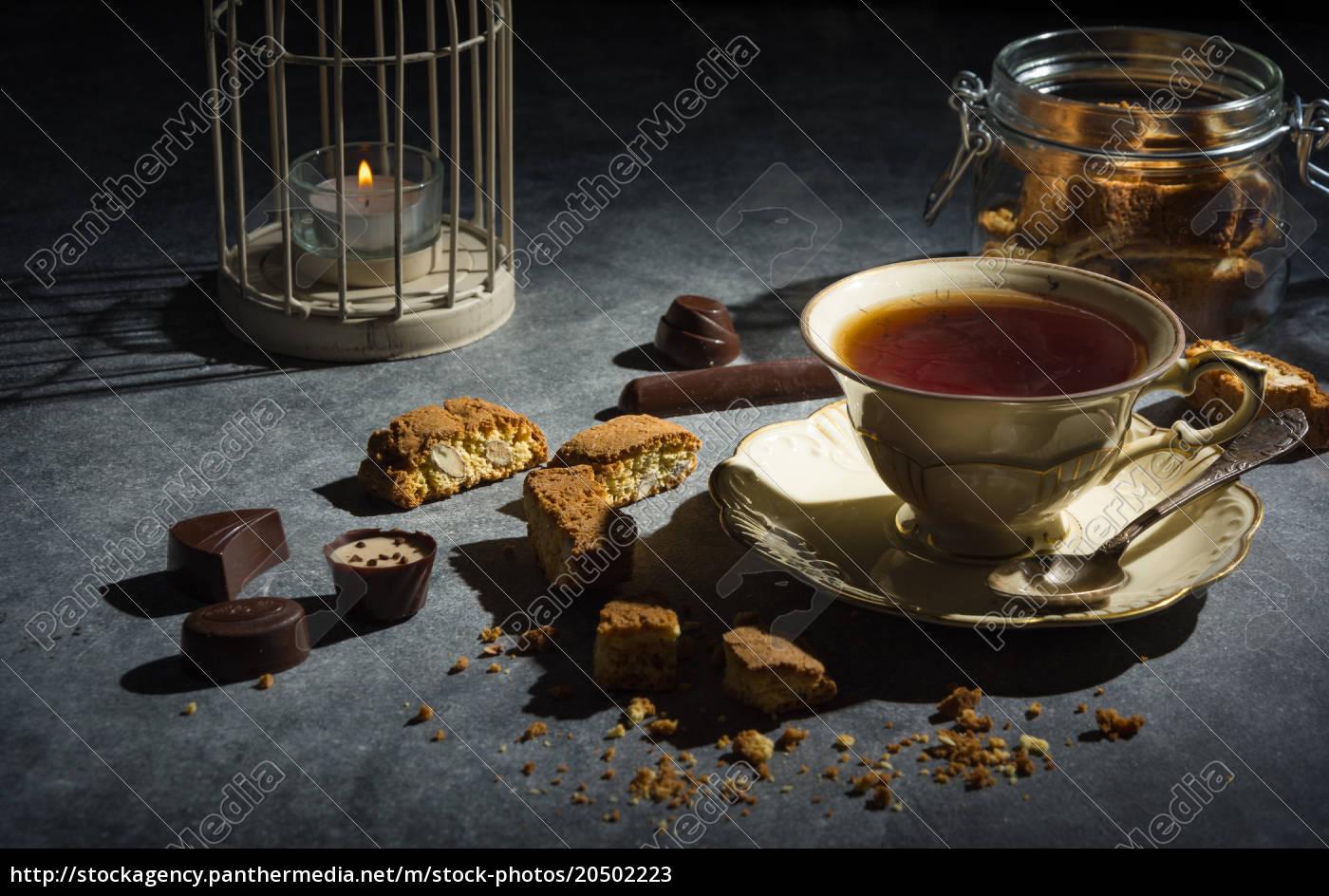 taza, de, té, galletas, de, almendras, y - 20502223