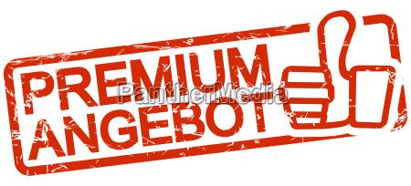 sello rojo con texto oferta premium