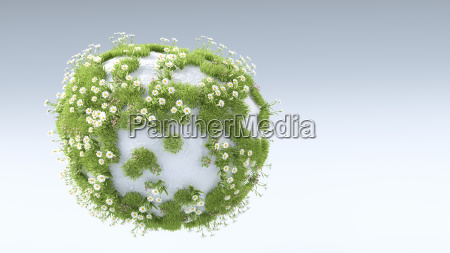 3d rendering grass and flowers growing