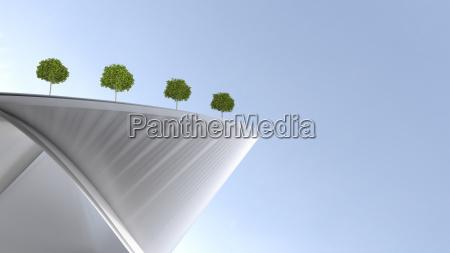 modern building with roof garden 3d