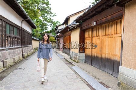 woman walking at japanese old town