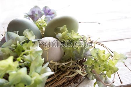 tender still life with easter eggs