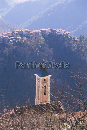 belltower and village near antona apuane