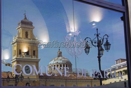 piazza garibaldi reflected in the glass