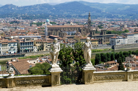 panoramic view over river arno and