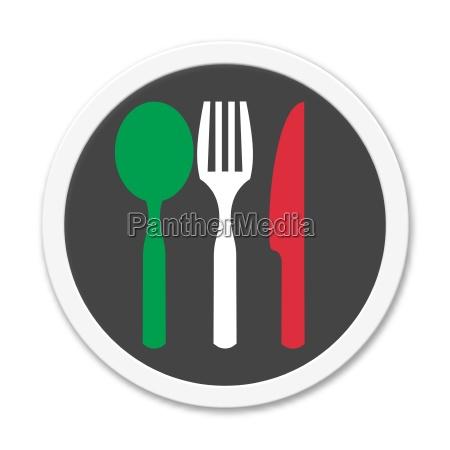 round button shows cutlery green white