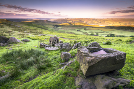 view over stanage edge millstones at