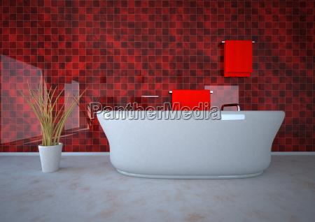 ilustracion 3d de banyo con planta