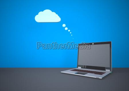 ilustracion de cloud computing con laptop