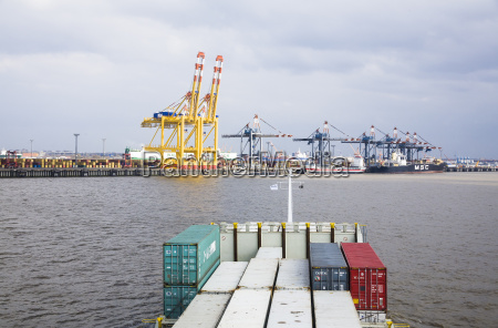 germany bremerhaven view of container harbour