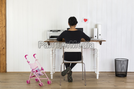 woman working at home office