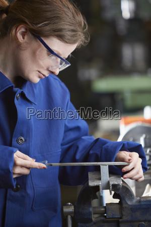 germany kaufbeuren woman working in manufacturing