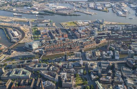 germany hamburg aerial view of speicherstadt