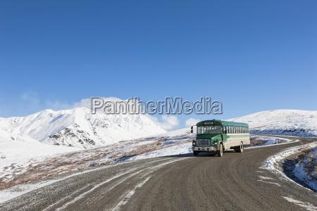 usa alaska visitor bus on way