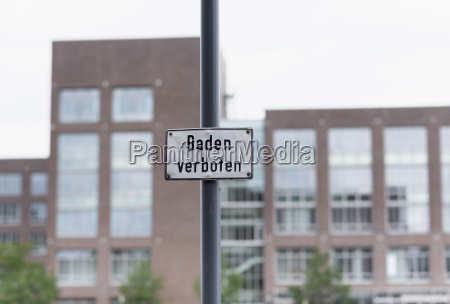 germany duisburg no swimming sign at