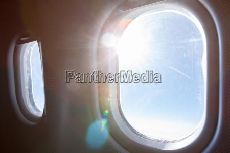 sunlight through airplane window
