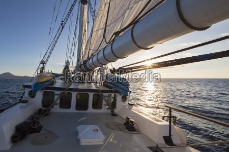 pacific ocean sailing ship at galapagos