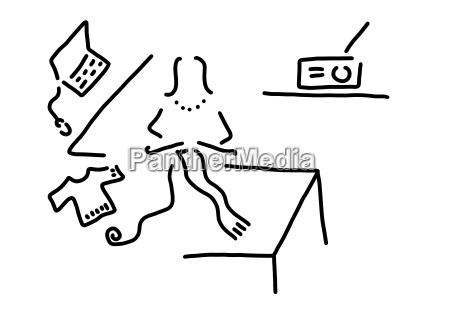 laptop bufanda de tejer mujer dibujo