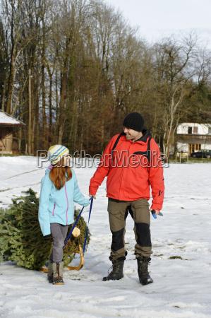 familia tomando arbol de navidad en