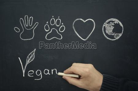 hombre dibujando concepto vegano en pizarra