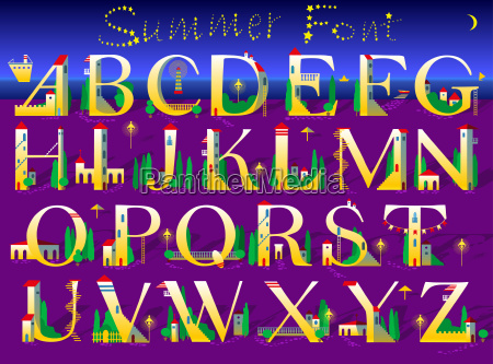 summer font yellow houses on the
