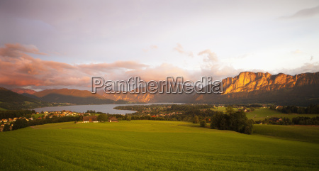 austria view of mondsee town and