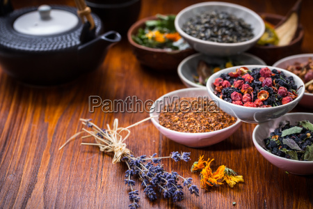 assortment of herbal and fruit tea