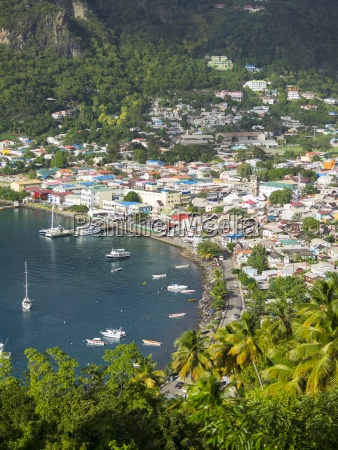 caribbean st lucia view on soufriere
