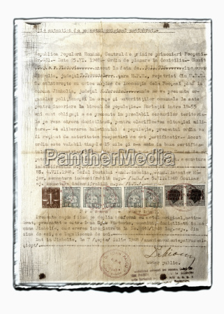 collage de antiguo documento con sellos
