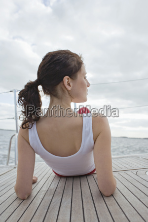 germany baltic sea luebecker bucht woman