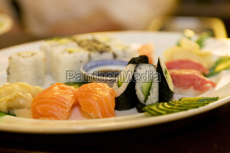 sushi on plate close up