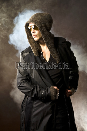 young man wearing hooded jacket portrait