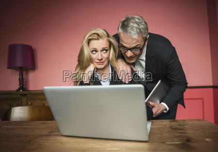 germany stuttgart businessman and woman working