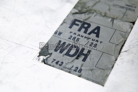 adhesive, label, on, suitcase, , close-up - 21187371