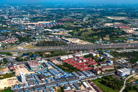 industrial estate and residential area aerial